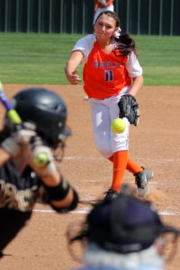 Angelina College pitcher Whitney Howerton delivers to a Tyler College hitter during Saturday's game at Roadrunner Complex. Howerton held the No. 1 Lady Apaches to a single run in AC's 2-1 win in the opener. Tyler salvaged a split with a 6-3 win in the nightcap. (Photo: Gary Stallard)