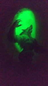 Paintings, animatronics, and blacklight are excellent ways to induce fear.