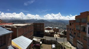 A photo of La Paz, Bolivia from a terrace.