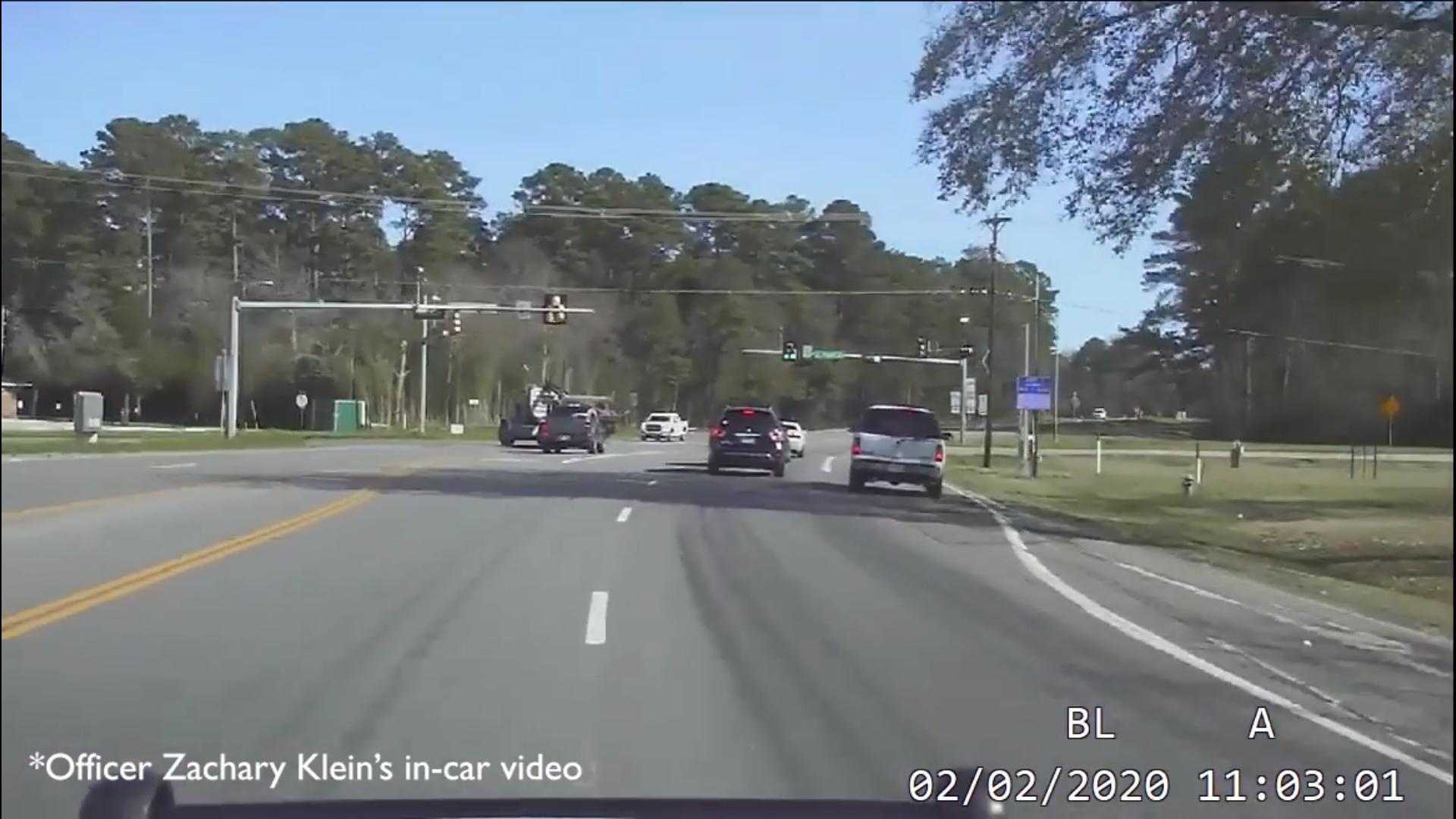 Snapshot from Lufkin Officer's Dash Cam
