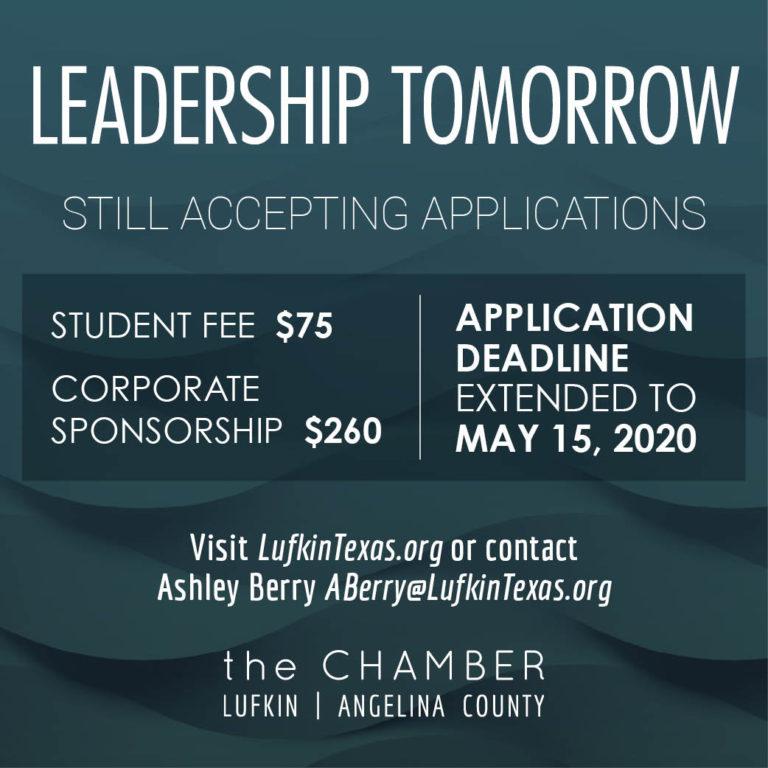Leadership Tomorrow applications due May 15!